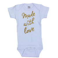 Made With Love Baby Onesuit | Sparkly Gold Baby Take Home