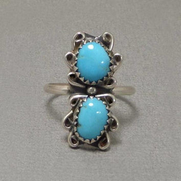 Vintage NATIVE American Navajo Turquoise RING. Double Gemstone Scrolls Flowers, Sterling Signed YAZZIE Size 6 1/2, Girlfriend Christmas Gift