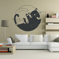 Wall Decor Vinyl Sticker Room Decal   Cat Cats Animal Pet Cute Twain Yin Yang Bedroom (s32)