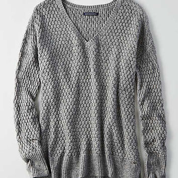 AEO Textured V-Neck Sweater , Gray