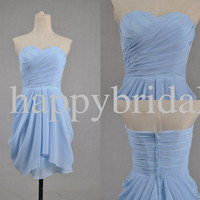 Short Sky Blue Prom Dresses Lovely Sweetheart Bridesmaid formal Party Evening Dresses Prom Dresses Homecoming dress