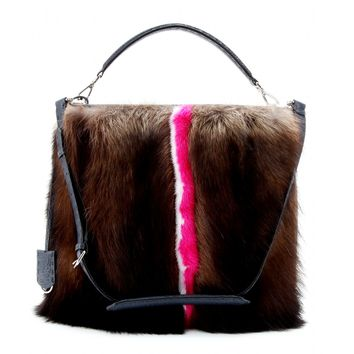 fendi - signature anna 1322 leather tote with mink fur