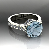 Aquamarine and Diamond Engagement Ring 2.94 CTW