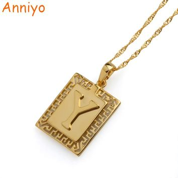 """Anniyo English Letter """"Y"""" Pendant Alfabet Initial Necklace Gold Color Jewelry for Women/Men Gifts #045304"""