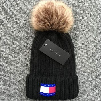 Tommy hilfiger 2018 new autumn and winter ball warm wool hat Black