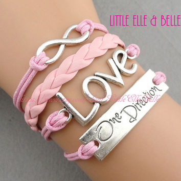 To Infinity and Beyond, Infinity Charm Bracelet, Infinity Wish, Love, One Direction, One Directioner, Pink, Christmas Gift, Friendship Gift