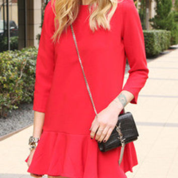 Red Round Neck Ruffle Dress
