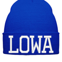 LOWA EMBROIDERY HAT - Beanie Cuffed Knit Cap