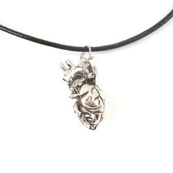 Anatomical heart choker necklace, heart necklace, leather cord choker, alternative, Goth jewellery, heart pendant, anatomical jewellery