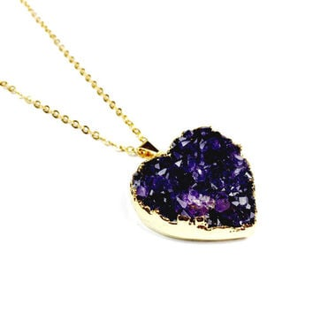 Amethyst Heart Necklace in Gold Plated - Vegan Jewellery, Pagan Jewellery, Purple, Druzy Jewellery, Crystal Jewellery, Amethyst Jewelry