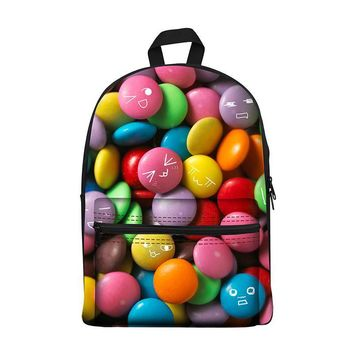 New 2017 Kawaii canvas Backpack for Girls Fashion Children School Bag Cute Cake food snacks Backpack Kids School Backpack