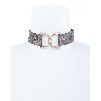 Celebrity Style Criss Cross Crystal Accent Metallic Faux Leather Choker Necklace Set
