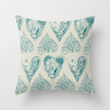 Blue and beige zentangle heart pattern Throw Pillow by /CAM