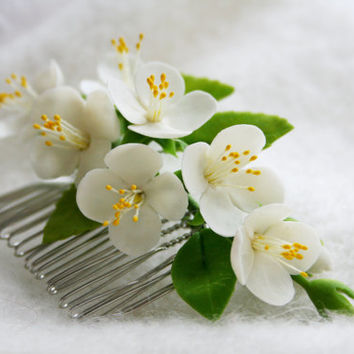Bridal flower comb - Spring blossom hair comb - Wedding flower comb - Jasmine blossom comb. Flower comb. Bridal comb. Flower hair accessory
