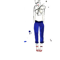 Watercolor Fashion Illustration - Nerdy Chic print
