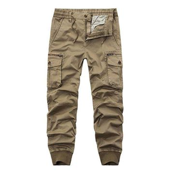 2017 Top brands of clothing Autumn and winter the new men's zipper cargo pants loose Multi Pocket camouflage trousers size 29-38