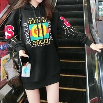 gucci fashion diamond letter print long sleeve hooded sweater women casual pullover hoodie tops