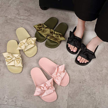 katypenySilk Bow Slides Women Summer Beach Shoes Woman No Fur Slippers Flat Heels Flip Flops Ladies Rihanna Bohemia Sandals