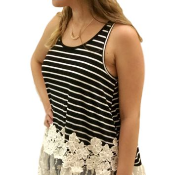Striped Racerback Tank With Lace Hem Top