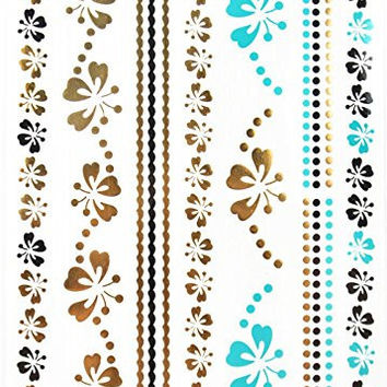 GGSELL GGSELL Metallic Temporary Tattoos Golden Gold & Silver & Black & Blue Jewelry with butterflies and flowers design fashion fake tattoo stickers