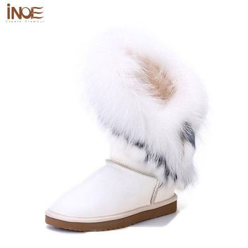 INOE Real Fox Fur Genuine Leather Knee High Snow Boots Women's Flat Shoes Natural Fur Boots For Women Waterproof Winter Boots