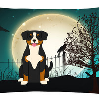 Halloween Scary Entlebucher Canvas Fabric Decorative Pillow BB2228PW1216
