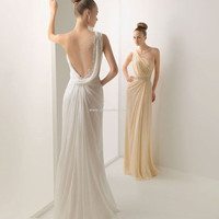 Romatic Sexy Low V Back Greece Chiffon Satin Evening Gown Wedding Bridesmaid Dress With Lace and Beading CUSTOM