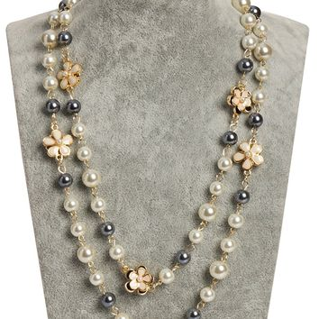 Fashion Jewelry Bridal Look Classic Imitation Faux Pearl Long Necklace