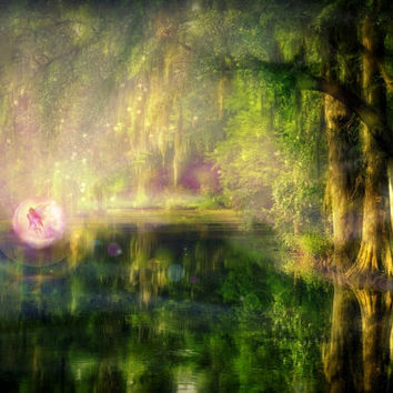 Canvas or Plexiglass 3D HD contemporary art LARGE digital painting Fantasy artwork, soft colors, light, forest, fairy