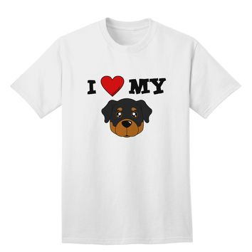 I Heart My - Cute Rottweiler Dog Adult T-Shirt by TooLoud