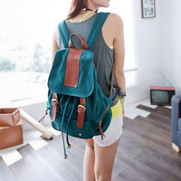 "14"" laptop bag/ Mail-green Canvas-Leather Backpack/ Canvas backpack/Handmade bag"