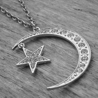 Moon Necklace Crescent Moon Silver Star Half Moon Jewelry Moon and Star Jewelry Gothic Goth Wicca Wiccan Pagan Witch Craft Occult Witchcraft