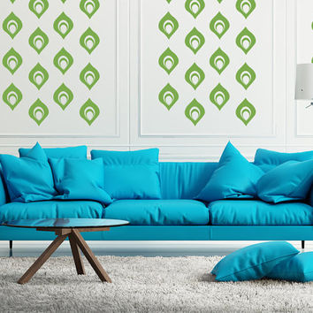 Retro Wall Decor Mid Century Modern Wall Decal Peacock Geometric Feather Mod Mod Wall Art Deco
