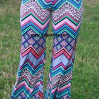 This Should Be Fun Chevron and Aztec Pants in Blue
