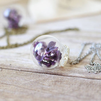 Terrarium necklace, glass globe, botanical jewelry,  vial necklace, stocking stuffer, purple lilac, Gift Under 30