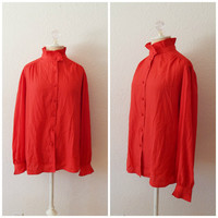 Vintage 70s Blouse - Womens Red Ruffle High Collar Edwardian Style Button Down Long Sleeve Large