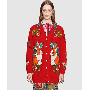 GUCCI Fashion Women Casual Jacquard Embroidery Long Sleeve V Collar Knit Cardigan Jacket Coat Red