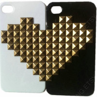 Lovers phone case iPhone 4 iphone 5 Studded Heart Phone Case Set for Best Friends  Couple Matching