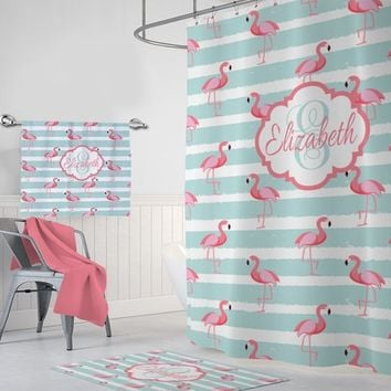 Flamingo SHOWER CURTAIN Set, Girl Flamingo Bathroom Decor, Aqua Pink Girl MONOGRAM Personalized Flamingo Bath Towel Bath Mat Rug Aqua Pink