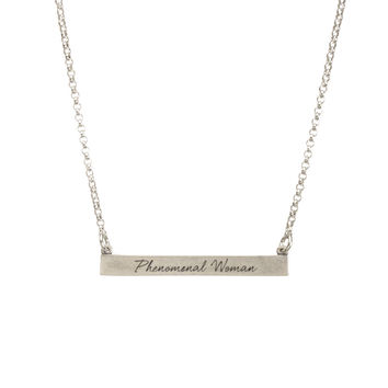 phenomenal woman capsule, i.d. bar necklace, sterling silver | dogeared