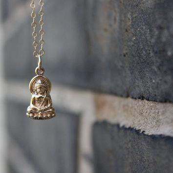 Buddha Necklace - Gold Buddha Pendant . Yoga Jewelry . Gifts for Her