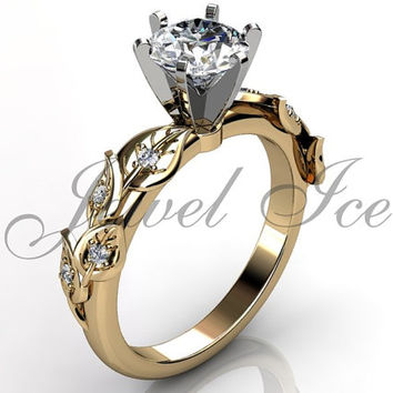 14k yellow gold diamond unusual unique floral engagement ring, bridal ring, wedding ring, anniversary ring ER-1112-2