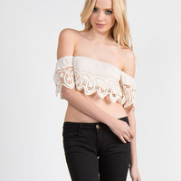 Off the Shoulder Crochet Cropped Top - Natural