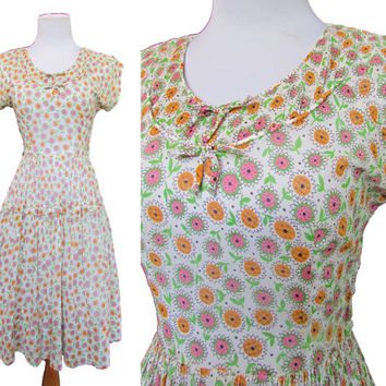 Vintage 40s Dress // Vintage Day Dress // Vintage 50s Dress Small