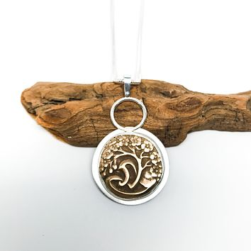 Sterling Silver & Bronze Tree of Life Necklace