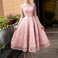 A-Line Bateau Lace Pearls Tea-Length Prom Dress - m.tbdress.com