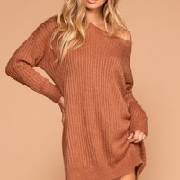 Cold Outside Rust Knit Sweater Dress