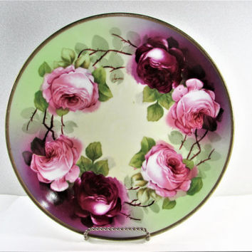 O&EG Royal Austria Pink Rose Plate
