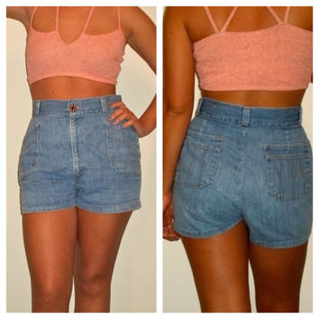 High Waisted Denim Shorts, Embroidered Soft Jean Cut Off 90s
