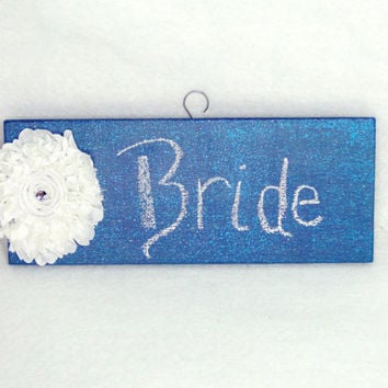 Chalkboard Sign Rustic Shabby Chic White Satin Flower with Rhinestone Center Wood Hand-Painted Blue Country